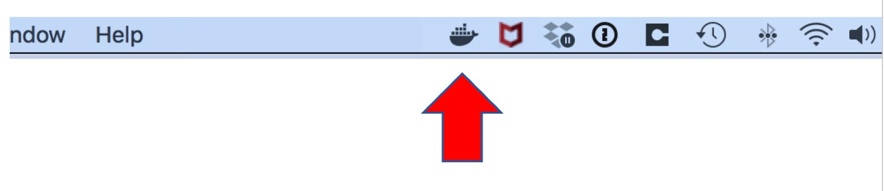 Docker icon in status bar
